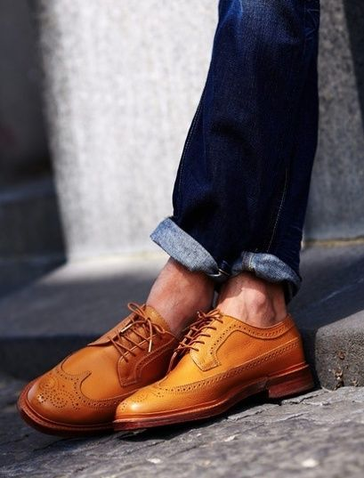 blue denim & brogues