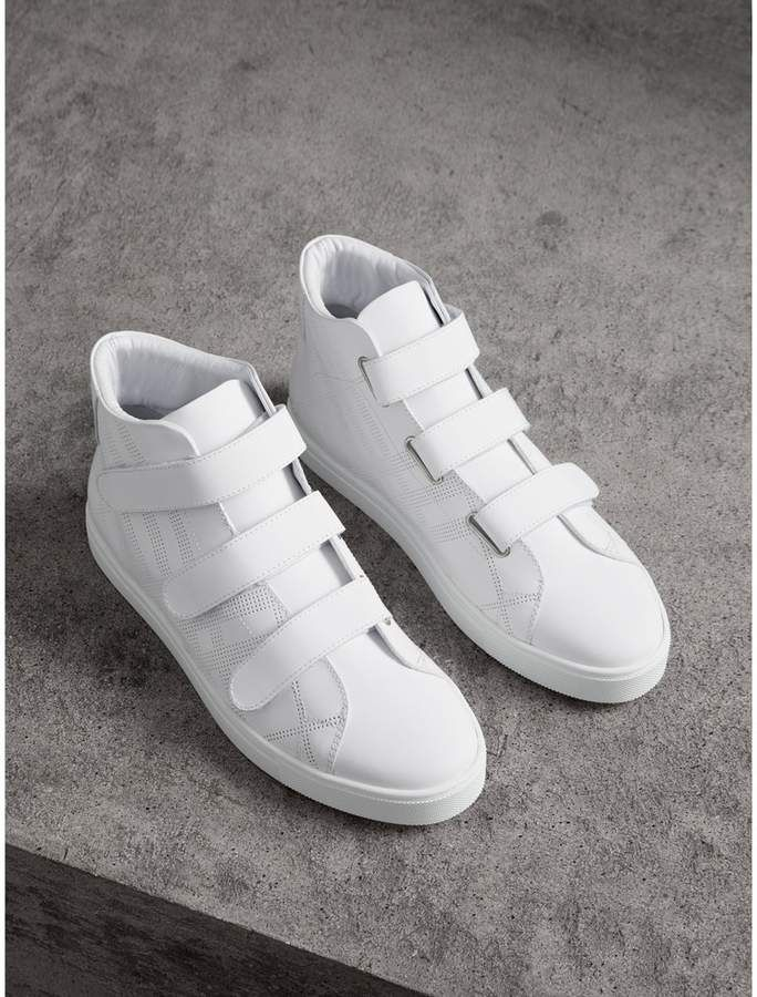 Burberry Perforated Check Leather High-top Sneakers