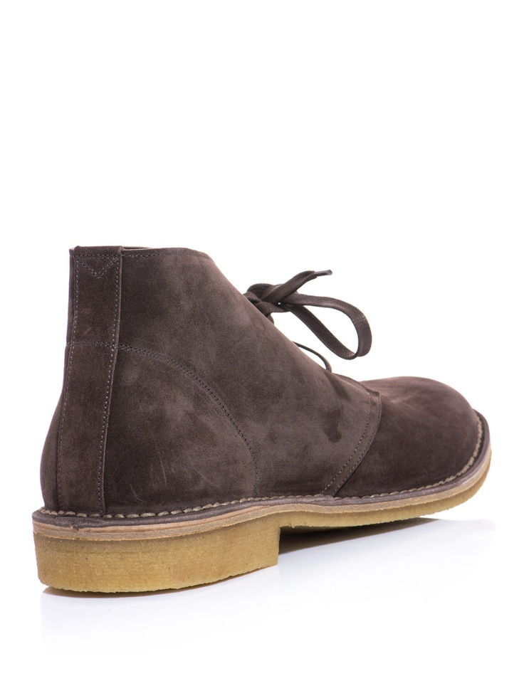Chocolate-brown suede desert boots from Bottega Veneta. A wardrobe classic with ...