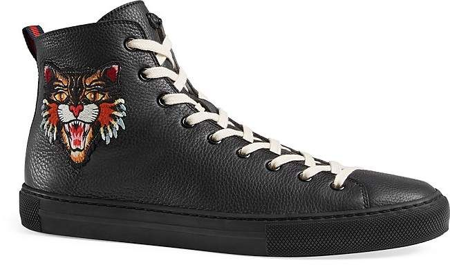 Gucci Leather High-Top Sneakers with Appliqués