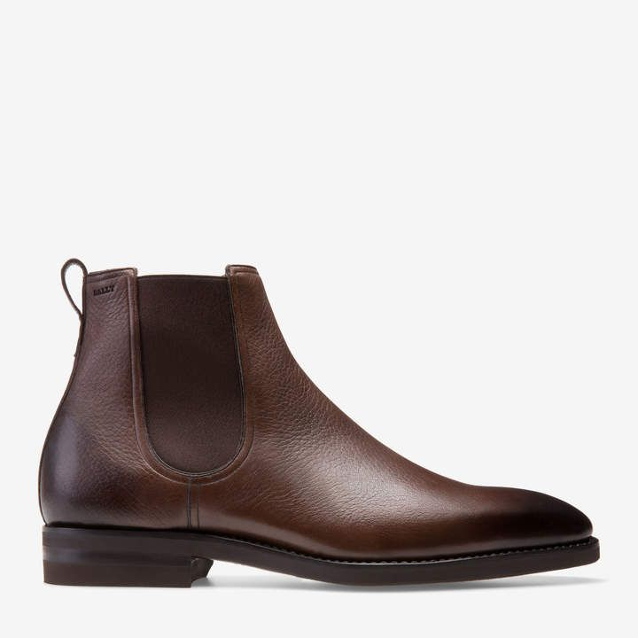Men's leather Chelsea boot in Coffee