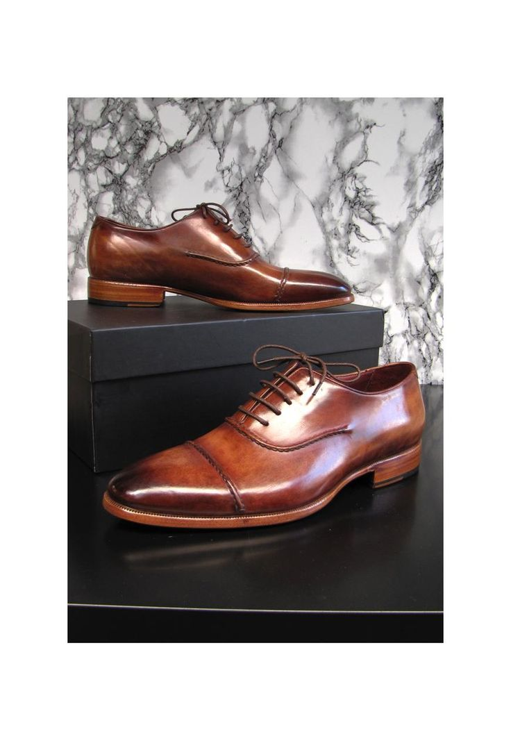 Paul Parkman Men's Captoe Oxfords Brown Hand Painted Shoes | parkmoda | ASOS...