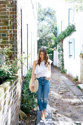 $50 Cute Bright White One Shoulder Big Ruffled Blouse With Blue Denim Jeans Spri...