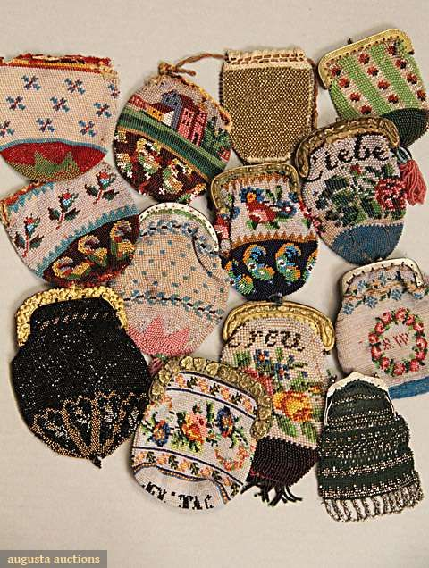 Beaded tiny purses, 1830-1880; All worked in multi-color glass or glass and meta...