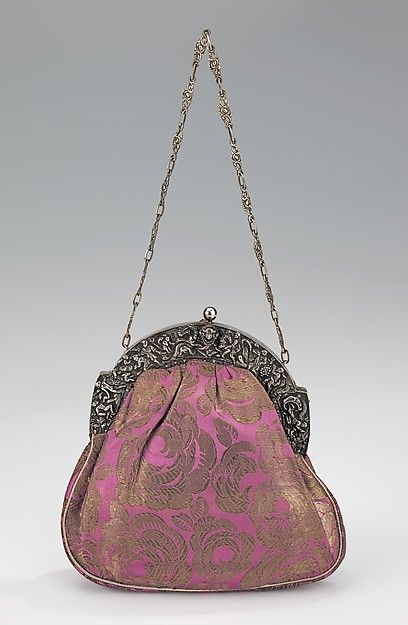 Evening purse | French | 1920-1929 | silk, metal, leather | Brooklyn Museum Cost...