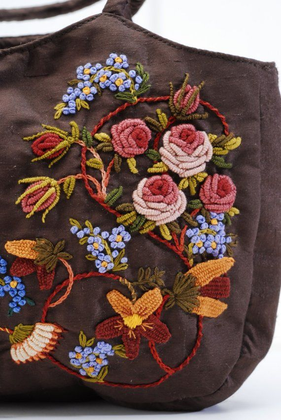 floral embroidery, bullion stitch roses