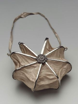 Heptagonal bag. French, about 1800. Silk moire set in steel and cut steel with s...