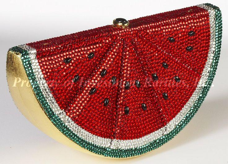 Judith Leiber ~ Watermelon—shaped Minaudiere with Crystal Rhinestones 1991