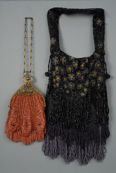 TWO BEADED BAGS, 1910-1920s Black, grey and yellow overall beaded floral with th...