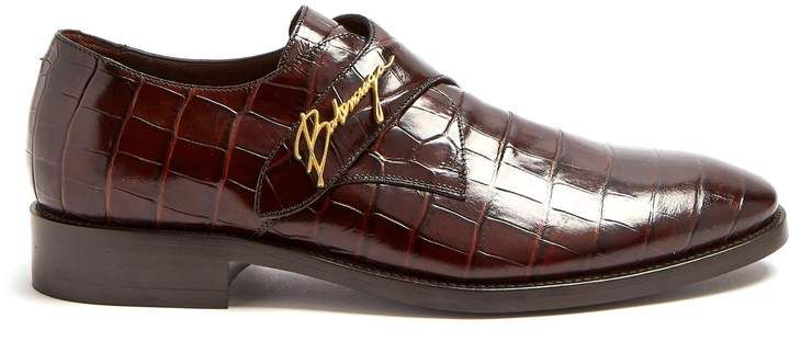 BALENCIAGA Crocodile-effect leather derby shoes