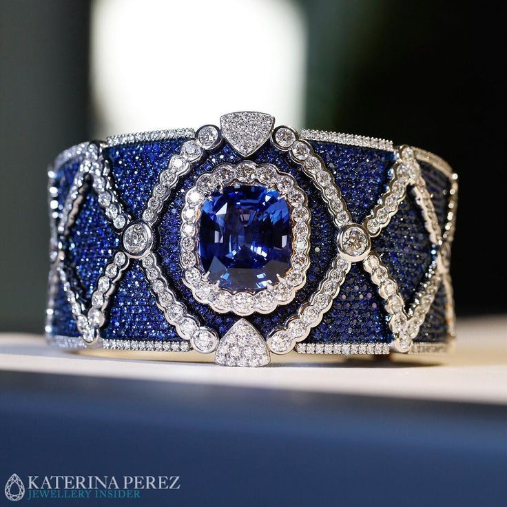 Best Diamond Bracelets : Masterpiece bracelet with an impressive #sapphire and #...
