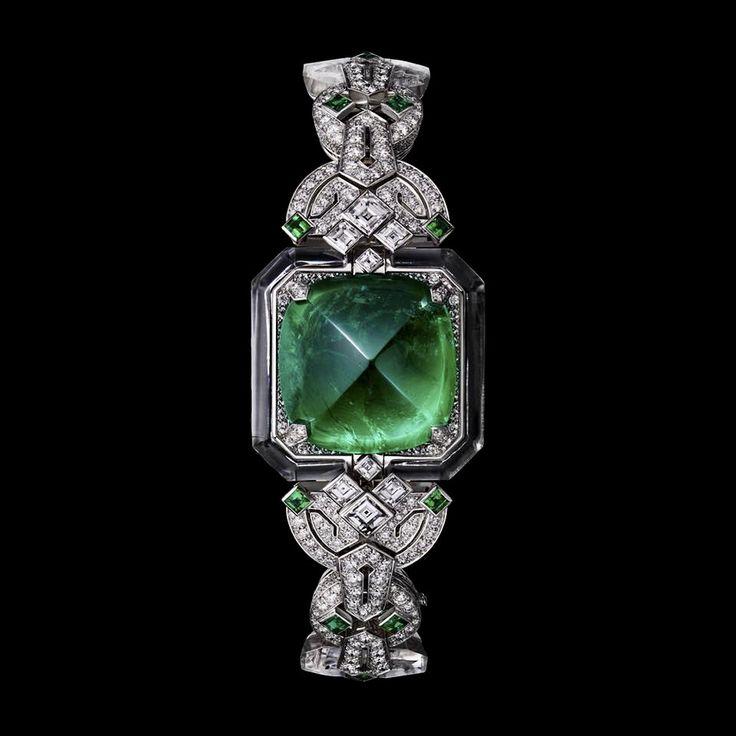 CARTIER. High Jewellery secret watch, quartz movement. Rhodium-finish 18K white ...