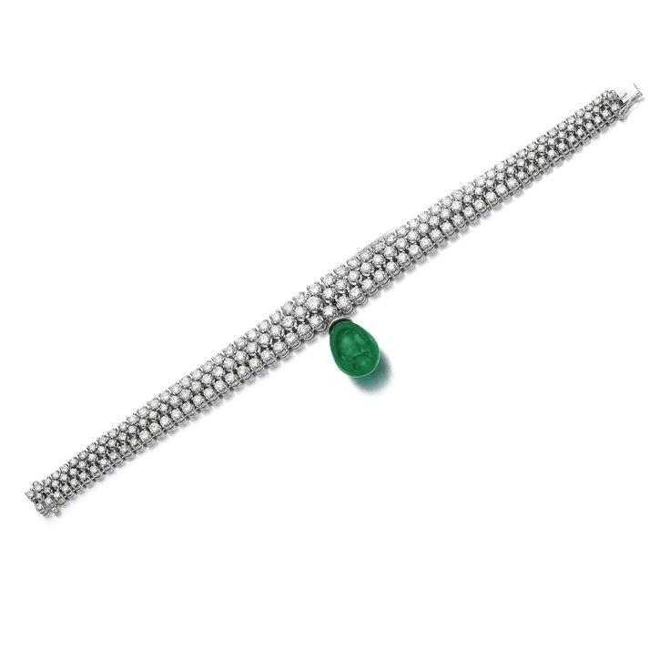 Emerald and diamond bracelet, Michele della Valle. The graduated three line band...