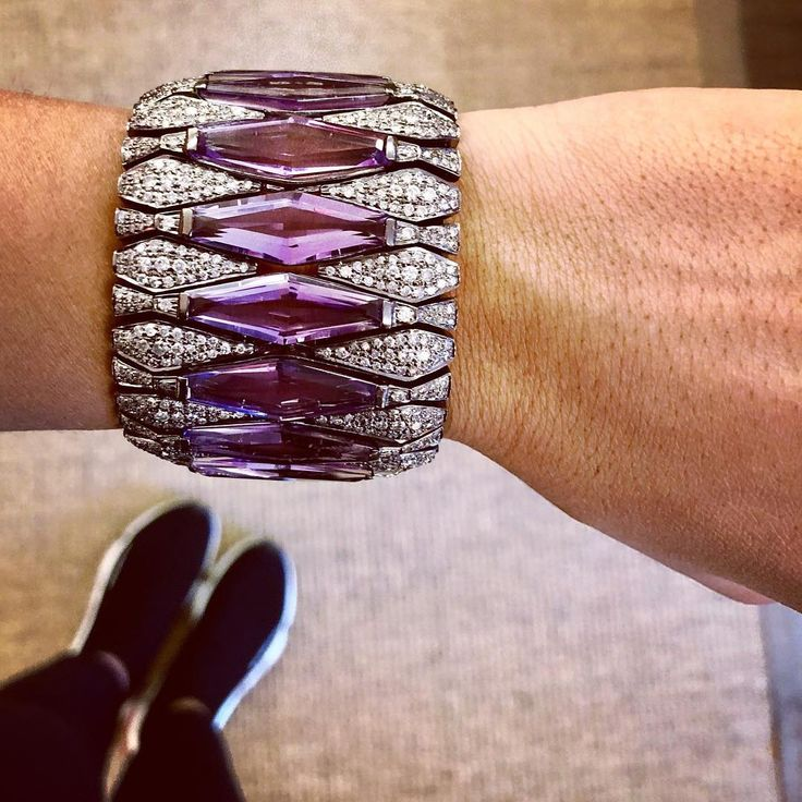 New diamond and amethyst cuff!!! #new #diamond #amethyst #cuff #sanjaykasliwal #...