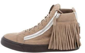 Giuseppe Zanotti Fringe-Trimmed High-Top Sneakers