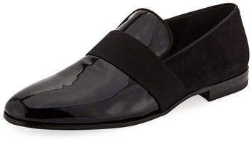 Salvatore Ferragamo Men's Bryden Patent Leather & Suede Slip-On Dress Loafer...