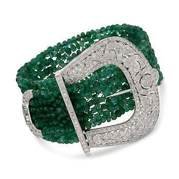 Best Diamond Bracelets : Cartier Art Deco Emerald Diamond Platinum Bracelet