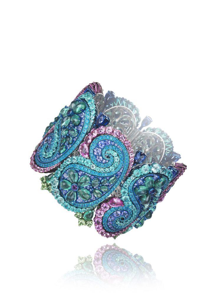 Chopard 2017 Red Carpet Collection Bracelet set with emeralds, Paraiba tourmalin...