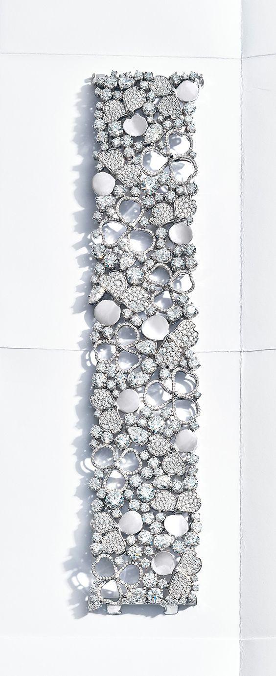 Tiffany Paper Flowers™ wide diamond bracelet in platinum.