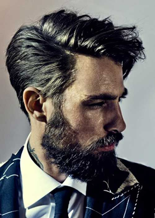 Slicked Hairstyle with Beard