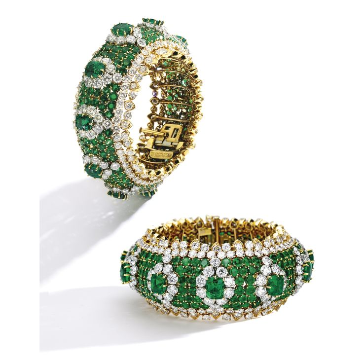 18 Karat Gold, Platinum, Emerald and Diamond Bracelet, Van Cleef & Arpels The br...