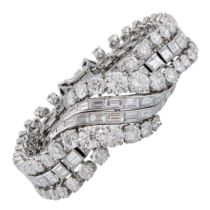 1950s Boucheron Paris Important Diamond Platinum Bracelet | From a unique collec...