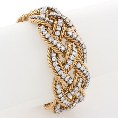 Boucheron Diamond Platinum and Gold Braided Bracelet. Available exclusively at M...