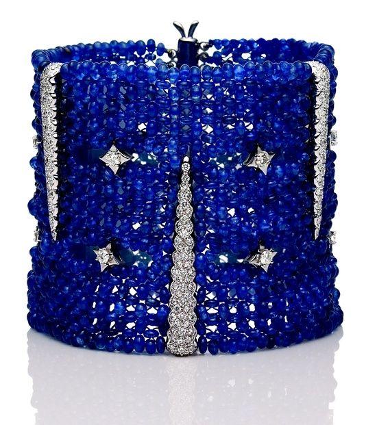 Sapphire and diamond cuff