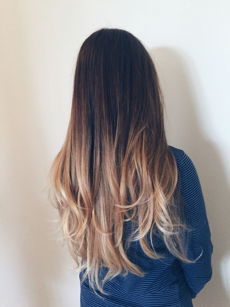 Balayage ombre dark brown to light blonde