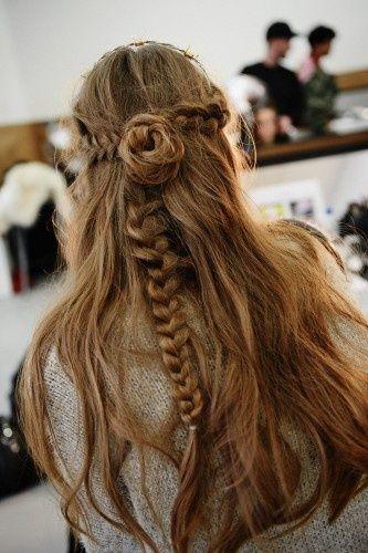Bun & braid. Long hair.