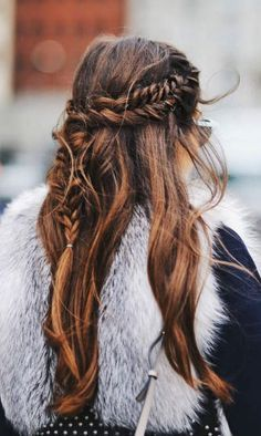Long hair with waves and braids. Perfect hairstyle to copy now.