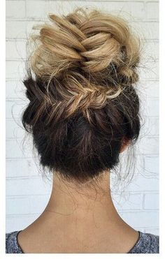 backwards braided bun with ombre