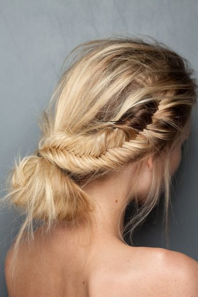 messy fishtail and bun