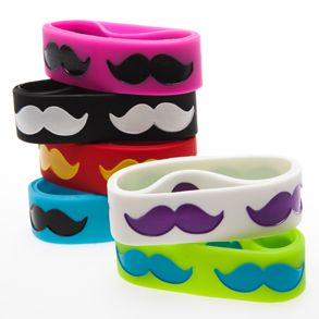Jumbo Mustache Rubber Bracelets