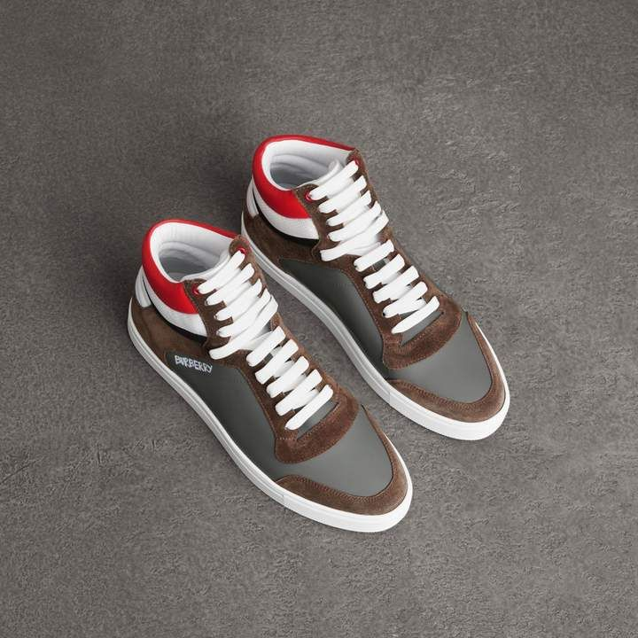 Burberry Suede and Leather High-top Sneakers