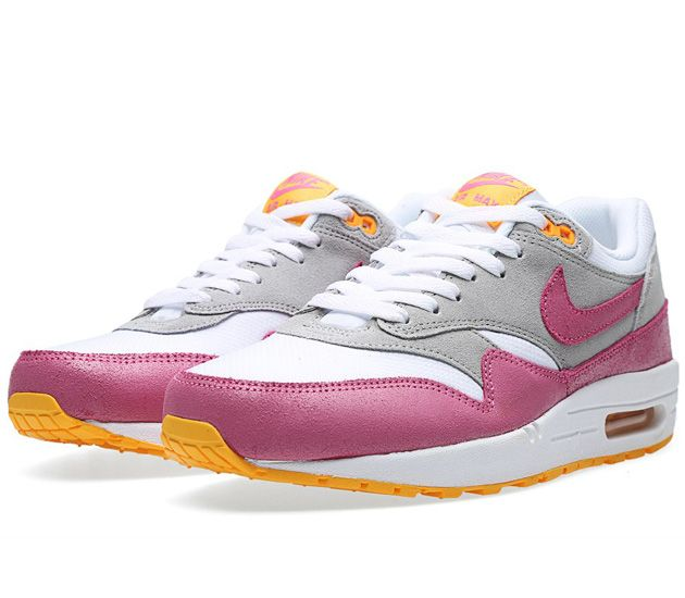 new style 6d7fe 7ec86 Nike Air Max 1 Essential WMNS-White-Pink Glow-Wolf Grey-Atomic Mango