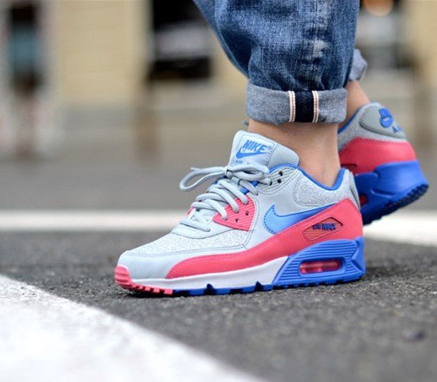 separation shoes 5ff04 e66de Nike Air Max 90 WMNS – Light Magenta   Hyper Cobalt – Hyper Pink. TAGS   black white sneakers ...
