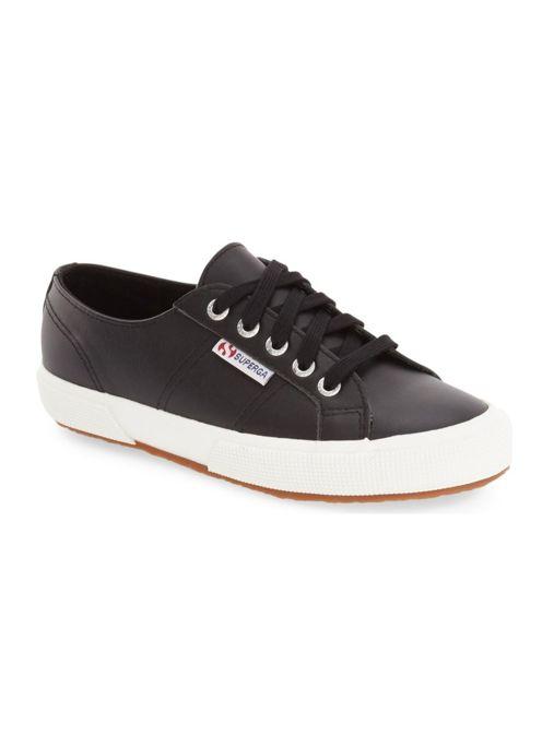 Black Leather Superga Sneakers