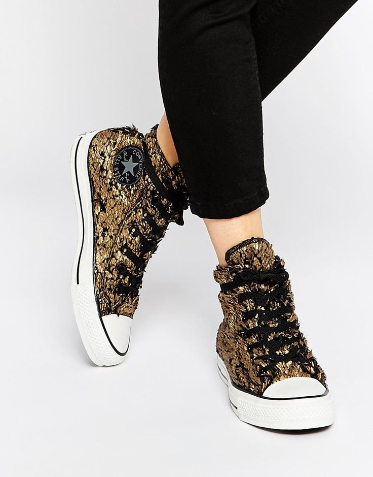 eb12d0fe36c Trendy Women s Sneakers   Converse Gold Sparkle High Top Sneakers ...
