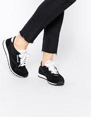 Reebok CL Nylon Black & White Sneakers