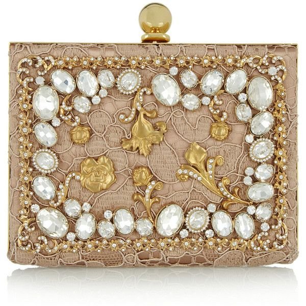 Dolce & Gabbana Ava crystal-embellished satin and lace box clutch found on Polyv...