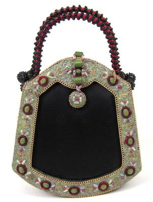 Vintage Mary Frances Ornate Oriental Fan Bucket Tote Clutch Handbag Beaded | eBa...