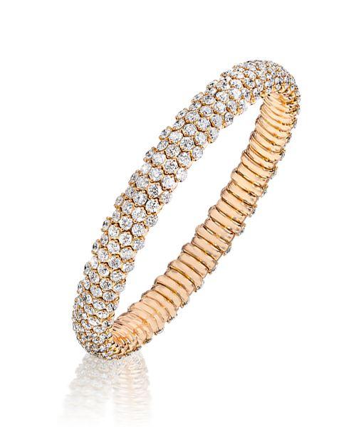 Cellini Jewelers 18 karat Rose Gold Stretch Diamond Bracelet Approximately 1/4...