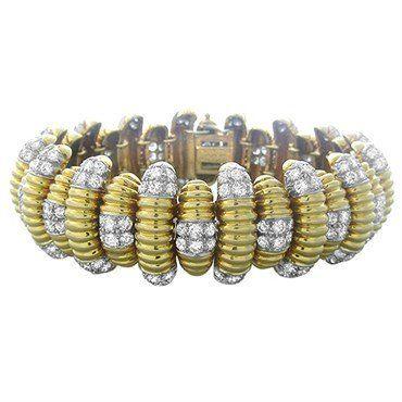 David Webb 18k Gold Platinum 15.50ctw Diamond Bracelet 129.7g