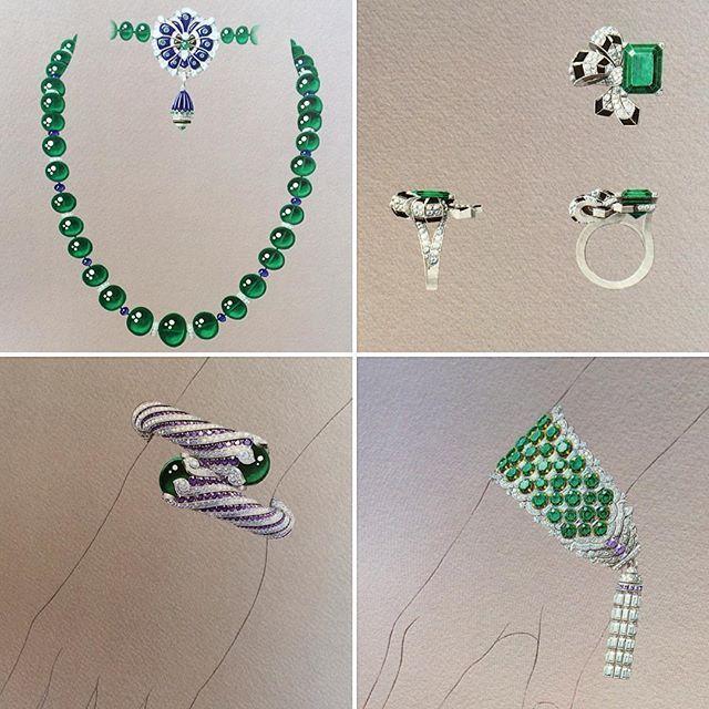 Sketches of Van Cleef & Arpels new high jewellery collection Émeraude en Majest...