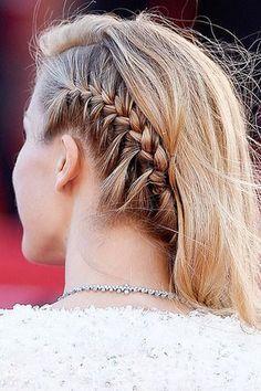 Summer Braid Hair: Petra Nemcova in single side braid w/ loose curly hairstyle a...