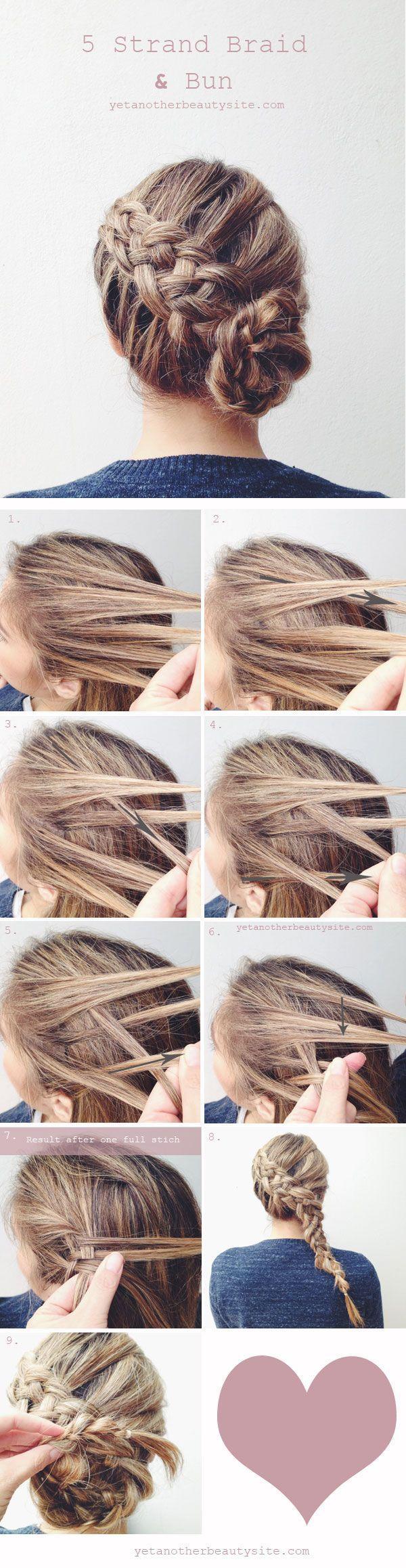 diy 5 strand braid and bun wedding hairstyles
