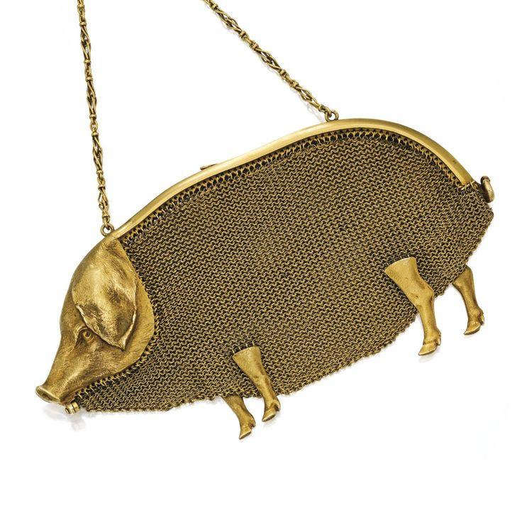 18K Gold 'Cochon' Purse, Paul Frey for La Cloche Freres France, circa 19...