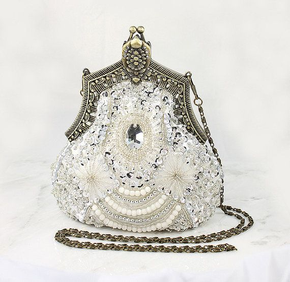 Art Deco Bridal Clutch, Old Hollywood Evening Bag, Handbag Purse Gatsby Wedding ...