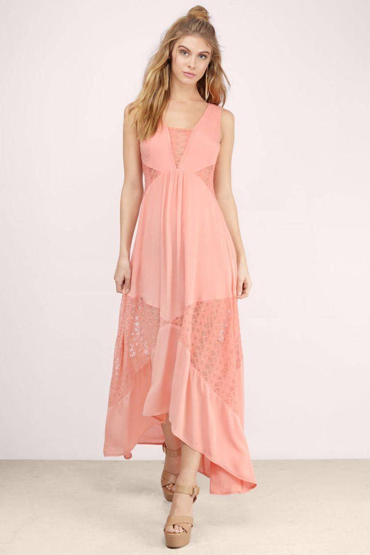 "65513cc4f1a Search ""Social Butterfly Coral Lace Patterned Maxi Dress"" on Tobi.com! lace  insert flowy midi maxi dress sleeveless  ShopTobi  fashion bridesmaid  wedding ..."